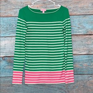 Lilly Pulitzer Green Pink Sweater Top Small